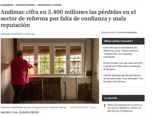 Andimac cifra en 5.400 millones las pérdidas en el sector de reforma por falta de confianza y mala reputación