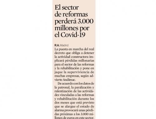 El sector de reformas perderá 3.000 millones por el Covid-19